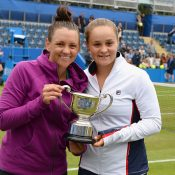 Casey Dellacqua (L) and Ash Barty celebrate their Birmingham WTA doubles title, one of three events they won in 2017; Getty Images