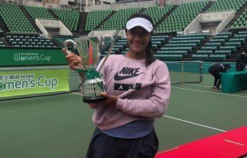 CHAMPION: Destanee Aiava celebrates winning the Fuji Yakuhin Cup in Osaka; Instagram