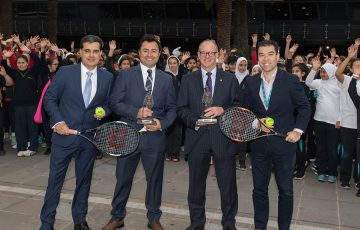 (L-R) Umit Oralogl, Bekir Kilic, Michael Annett and Francis Soyer at the Gallipoli Youth Cup launch event (Elizabeth Xue Bai/Tennis Australia)