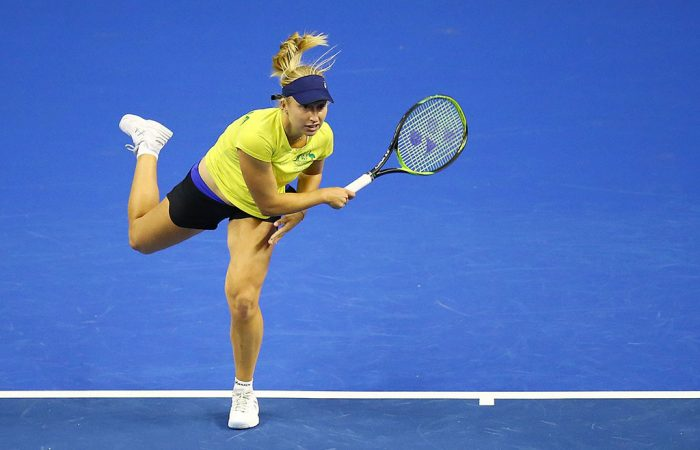 Daria Gavrilova practises ahead of Australia's Fed Cup World Group Play-off tie against the Netherlands; Getty Images
