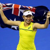 Daria Gavrilova celebrates after sealing a 3-1 victory for Australia in the Fed Cup World Group Play-off tie against Netherlands in Wollongong; Getty Images