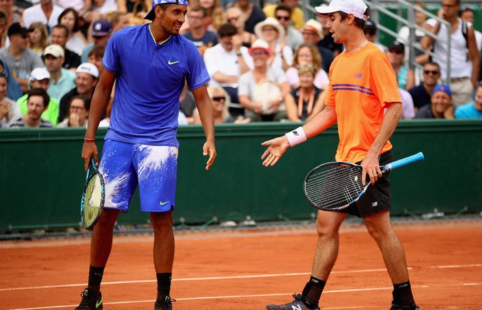 Nick Kyrgios (L) and Jordan Thompson; Getty Images