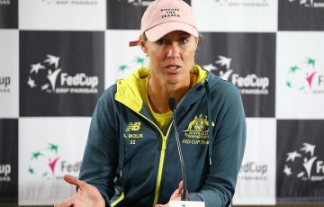 Alicia Molik chats to the media ahead of Australia's Fed Cup World Group Play-off tie against Netherlands in Wollongong; Getty Images