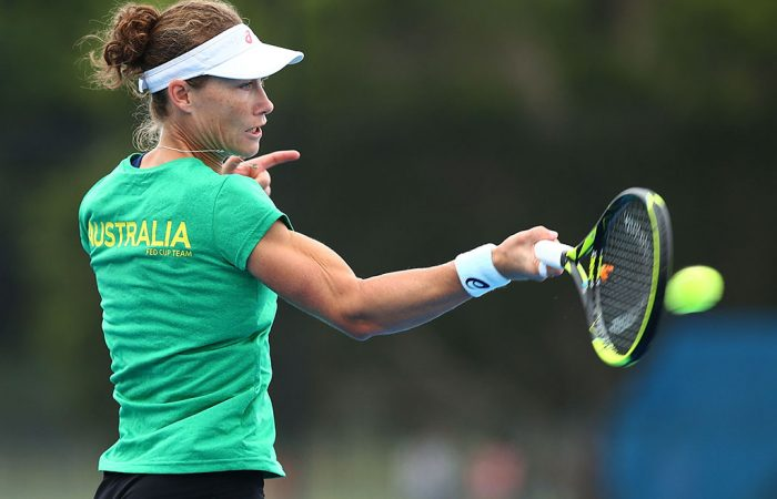 WOLLONGONG, AUSTRALIA - APRIL 17:  Samantha Stosur of Australia practices after a media opportunity ahead of the Australia v Netherlands Fed Cup World Group Play-off at Wollongong Tennis Club on April 17, 2018 in Wollongong, Australia.  (Photo by Mark Nolan/Getty Images)