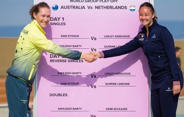 Sam Stosur (L) will take on Lesley Kerkhove (R) in the opening rubber of Australia's Fed Cup tie against Netherlands in Wollongong; Getty Images
