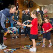 Sam Stosur (L) at the launch of the ANZ Tennis Hot Shots Racquet Roadshow (photo credit Fiona Hamilton/Tennis Australia)