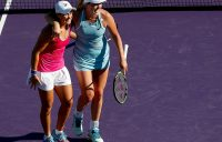 Ashleigh Barty of Australia and CoCo Vandeweghe of the United States celebrate after match point against Barbora Krejcikova and Katerina Siniakova of the of the Czech Republic during the women's doubles final on Day 14 of the Miami Open; Getty Images