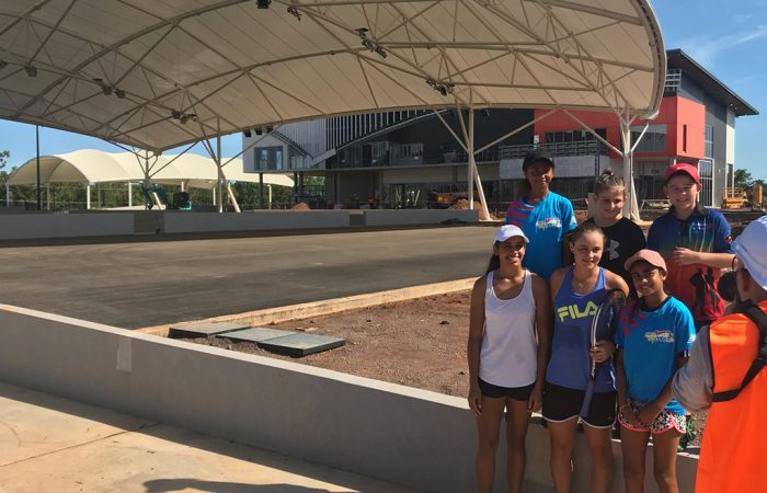 Barty checks on progress at the Darwin International Tennis Centre in Marrara