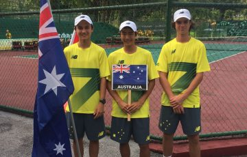 L-R Tai Sach, Chen Dong, Cooper White ready to compete in Malaysia at the Junior Davis Cup Asia / Oceania qualifying