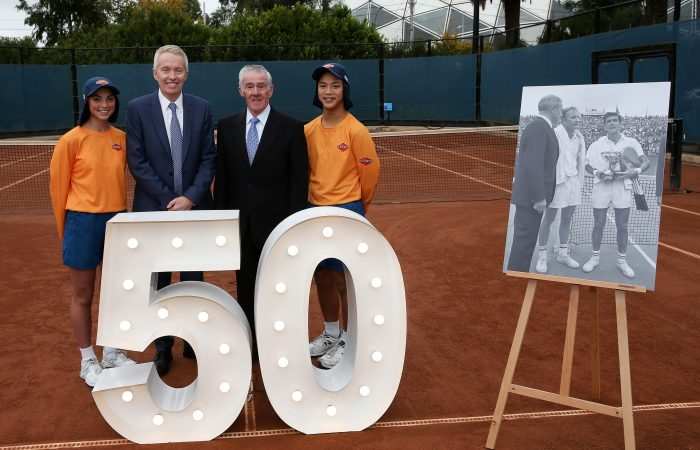 MELBOURNE, AUSTRALIA - MAY 22: Craig Tiley, Tennis Australia CEO is seen during a press conference at Melbourne Park on May 22, 2018 in Melbourne, Australia.  Ken Rosewall, Roland-Garros singles champion in 1968 and 1953 celebrates 50 years since winning the French Open. 2018 Australian Open ballkids Emma Wong and Aidan Chu are heading to Paris to be part of the Roland-Garros squad. (Photo by George Salpigtidis/Getty Images)