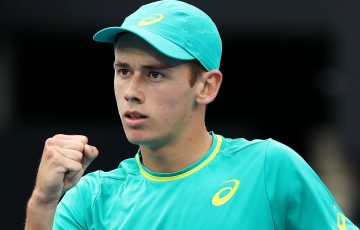 SYDNEY, AUSTRALIA - JANUARY 10:  Alex de Minaur of Australia celebrates winning a point in his second round match against Damir Dzumhur of Bosnia and Herzegovinia during day four of the 2018 Sydney International at Sydney Olympic Park Tennis Centre on January 10, 2018 in Sydney, Australia.  (Photo by Mark Metcalfe/Getty Images)