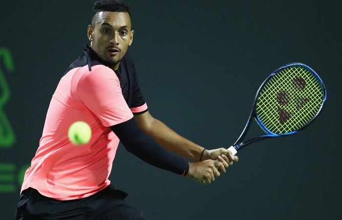 PREPARING: Nick Kyrgios is playing doubles in Lyon this week to test his elbow ahead of the French Open; Getty Images