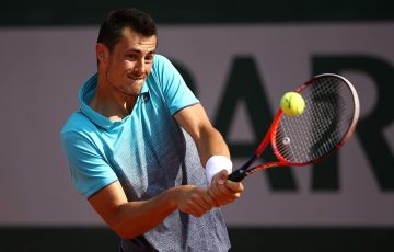 IMPRESSIVE: Bernard Tomic fires a backhand during his final qualifying round win at Roland Garros; Getty Images
