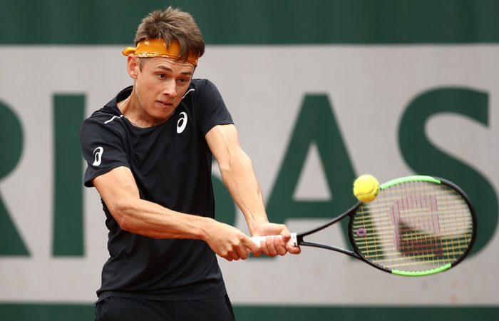 OUTPLAYED: Alex De Minaur lines up a backhand in his French Open loss to Kyle Edmund; Getty Images