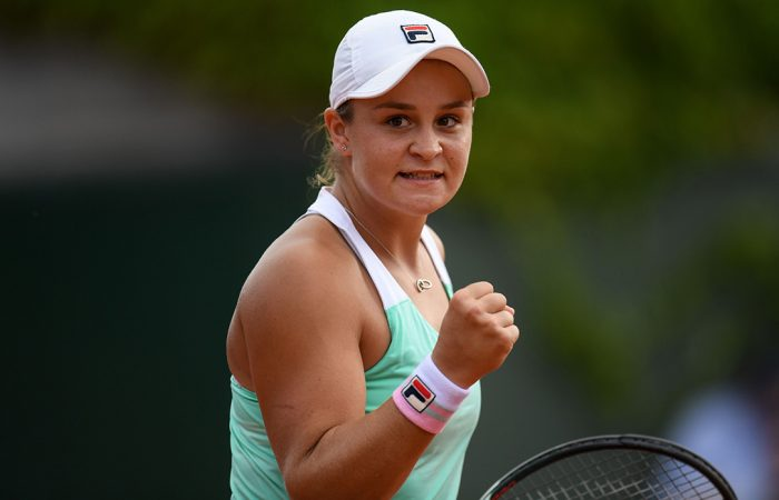 MOVING ON: Australia's Ash Barty celebrates winning her first round match at the French Open; Getty Images