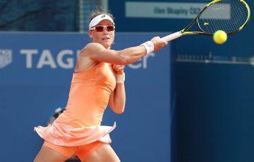 Sam Stosur in action during her second-round win over Denisa Allertova at the WTA Prague Open; photo credit TK Sparta Praha / Pavel Lebeda (sport-pics.cz)