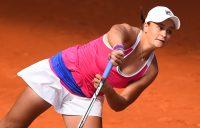 Ash serves to Caroline Wozniacki at the Mutua Madrid Open; Getty Images