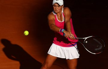 Ashleigh Barty of Australia in action in her match against Maria Sharapova of Russia during day three of the Internazionali BNL d'Italia 2018 tennis at Foro Italico on May 15, 2018 in Rome, Italy. (Photo by Julian Finney/Getty Images)