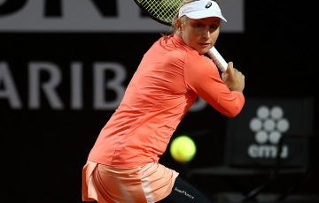 Daria Gavrilova of Australia in action against Garbine Muguruzu of Spain during day four of the Internazionali BNL d'Italia 2018 tennis at Foro Italico on May 16, 2018 in Rome, Italy.  (Photo by Julian Finney/Getty Images)