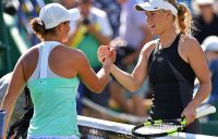 Ash Barty (L) shakes hands with Caroline Wozniacki after the Dane won their quarterfinal match at Eastbourne; Getty Images