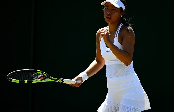 Lizette Cabrera in action during her first-round win at Wimbledon qualifying; Getty Images