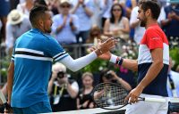 Nick Kyrgios (L) shakes hands with Marin Cilic after Cilic won their semifinal match at the Fever Tree Championships at Queen's Club; Getty Images