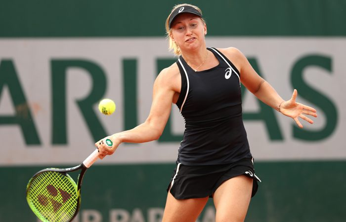 FIGHTER: Daria Gavrilova lines up a forehand during her French Open second round win; Getty Images