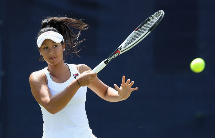 LONDON, ENGLAND - JUNE 08:  Priscilla Hon of Australia in action against Katie Boulter of Great Britain during their Quarter Final match on Day 7 of the Fuzion 100 Surbition Trophy on June 8, 2018 in London, United Kingdom.  (Photo by Christopher Lee/Getty Images for LTA)