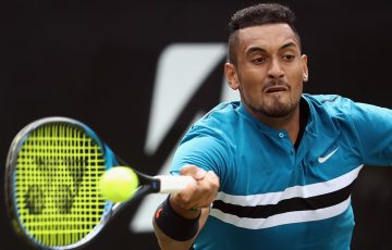 BACK IN THE GAME:  Nick Kyrgios stretches for a forehand during his win in Stuttgart; Getty Images