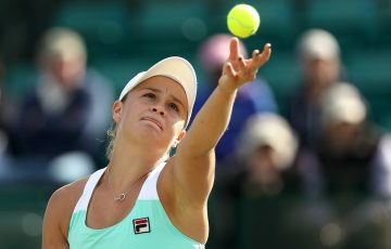 FOCUSED: Ash Barty serves during her second round win in Nottingham; Getty Images