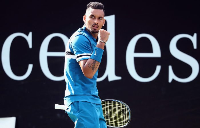 PUMPED UP: Nick Kyrgios celebrates his quarterfinal win over Feliciano Lopez; Getty Images