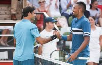 RESPECT: Roger Federer shakes hand with Nick Kyrgios after their Stuttgart semifinal; Getty Images