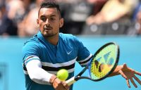 Nick Kyrgios in action during his second-round victory over Kyle Edmund at Queen's Club; Getty Images