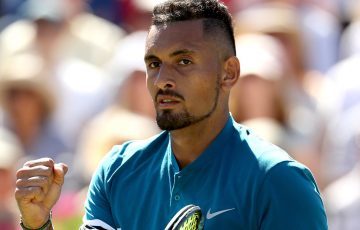 Nick Kyrgios celebrates during his quarterfinal victory over Feliciano Lopez at the Queen's Club; Getty Images
