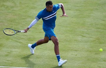 Nick Kyrgios in action against Andy Murray in the first round at Queen's Club; Getty Images