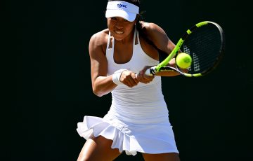 Lizette Cabrera in action during the Wimbledon qualifying event at Roehampton; Getty Images