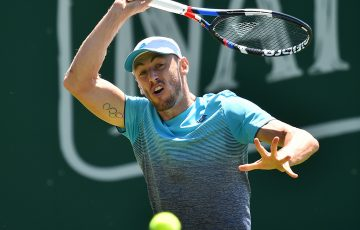 John Millman in action during his first-round win over Gilles Muller at the Nature Valley International in Eastbourne; Getty Images