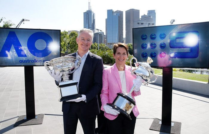 Tennis Australia President and Chair, Jayne Hrdlicka, joined Nine Network CEO Hugh Marks to make the announcement at Melbourne Park