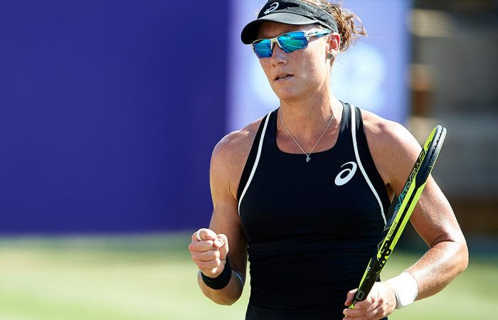 Sam Stosur in action during her second round victory over Lara Arruabarrena in Mallorca (photo credit Manuel Queimadelos/Mallorca Open)