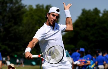 Thanasi Kokkinakis in action during his first-round victory at Wimbledon qualifying in 2018; Getty Images