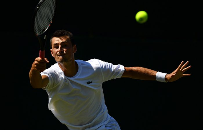 Bernard Tomic in action during his first-round qualifying victory over Matteo Donati at Roehampton; Getty Images