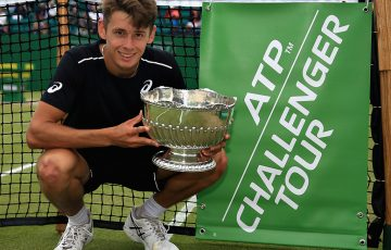 NOTTINGHAM, ENGLAND - JUNE 17:  Alex De Minaur of Australia celebrates victory in the Mens Singles Final during Day Nine of the Nature Valley Open at Nottingham Tennis Centre on June 17, 2018 in Nottingham, United Kingdom.  (Photo by Ben Hoskins/Getty Images for LTA)