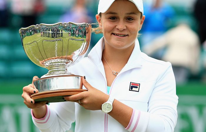 NOTTINGHAM, ENGLAND - JUNE 17:  Ashleigh Barty of Australia celebrates victory in the Womens Singles Final during Day Nine of the Nature Valley Open at Nottingham Tennis Centre on June 17, 2018 in Nottingham, United Kingdom.  (Photo by Ben Hoskins/Getty Images for LTA)