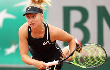 PARIS, FRANCE - MAY 29:  Daria Gavrilova of Australia serves during the ladies singles first round match against Sorana Cirstea of Romania during day three of the 2018 French Open at Roland Garros on May 29, 2018 in Paris, France.  (Photo by Matthew Stockman/Getty Images)