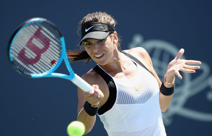 Ajla Tomljanovic in action during her first-round victory in San Jose; Getty Images