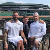 (L-R) Heath Davidson, Todd Woodbridge and Dylan Alcott at Wimbledon.