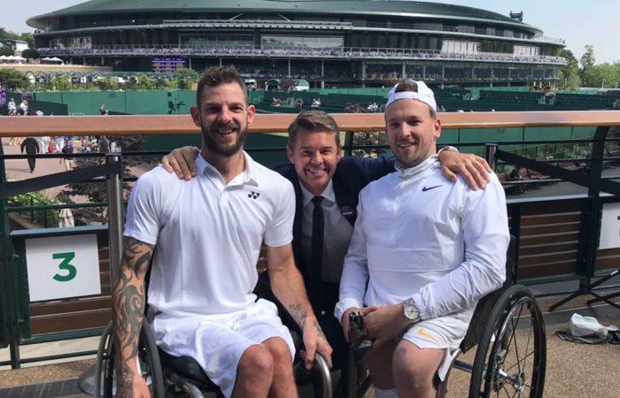 (L-R) Heath Davidson, Todd Woodbridge and Dylan Alcott at Wimbledon.