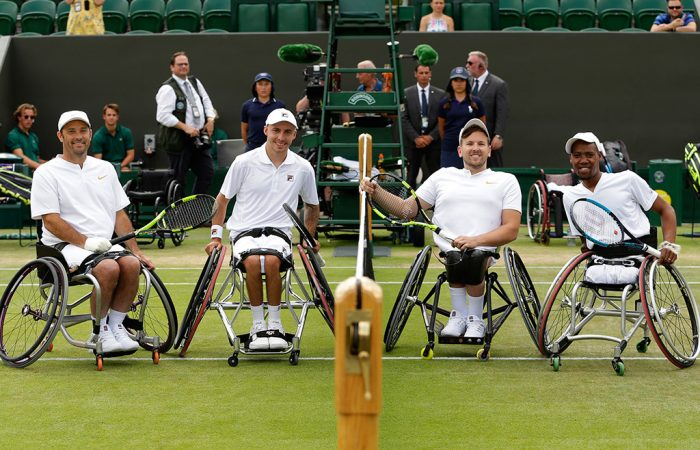(L-R) David Wagner, Andy Lapthorne, Dylan Alcott and Lucas Sithole took part in a Quad Wheelchair Doubles Exhibition event at Wimbledon; Getty Images