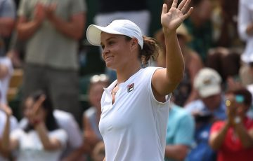 Ash Barty celebrates her second-round win over Eugenie Bouchard at Wimbledon; Getty Images