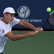 Alex De Minaur in action during his second-round loss to John Isner at the ATP Atlanta Open; Getty Images